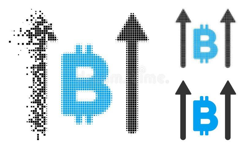 Icono quebrado de Dot Halftone Bitcoin Send Arrows libre illustration