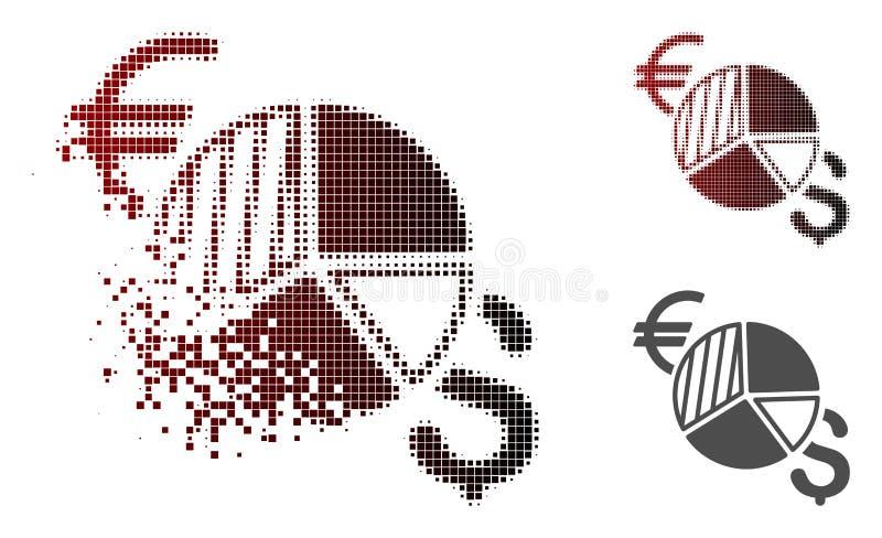 Icono quebrado de Dot Halftone Currency Pie Chart stock de ilustración