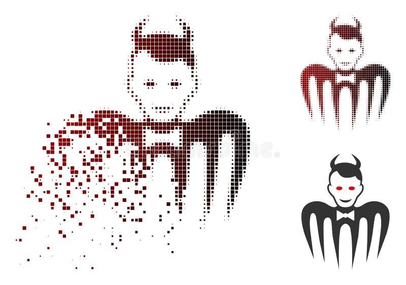 Icono quebrado de Dot Halftone Gentleman Spectre Devil stock de ilustración