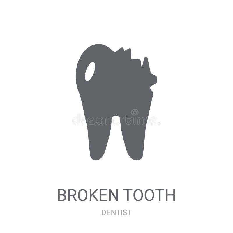 Icono quebrado del diente  ilustración del vector