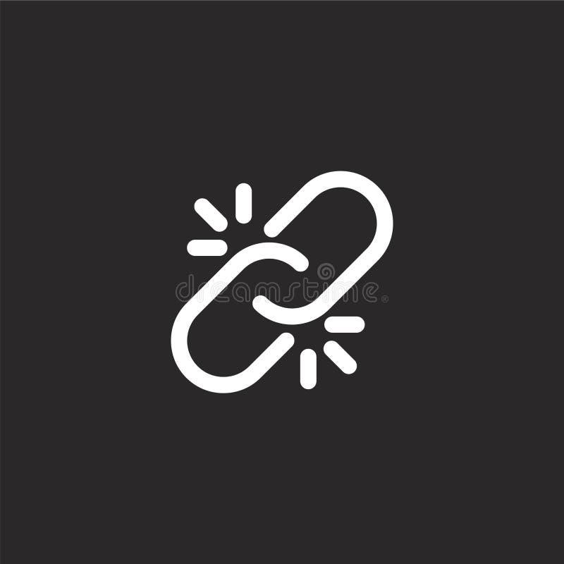 Icono quebrado del v?nculo Icono quebrado llenado del vínculo para el diseño y el móvil, desarrollo de la página web del app icon stock de ilustración