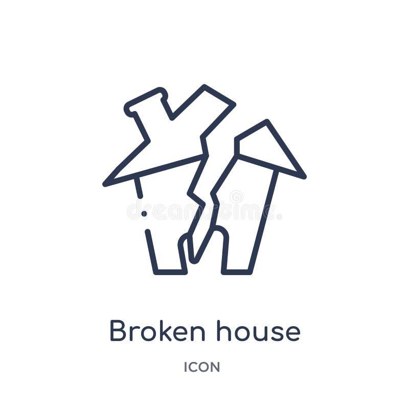 Icono quebrado linear de la casa de la colección del esquema de la meteorología Línea fina icono quebrado de la casa aislado en e ilustración del vector