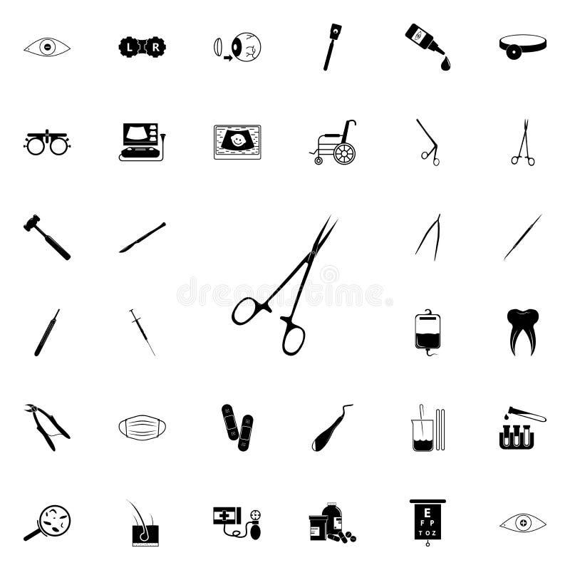 Icono quirúrgico de las tijeras Sistema universal de los iconos de la medicina para el web y el móvil stock de ilustración