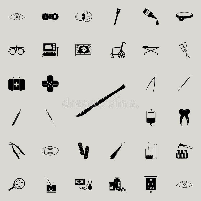 Icono quirúrgico del escalpelo Sistema universal de los iconos de la medicina para el web y el móvil ilustración del vector