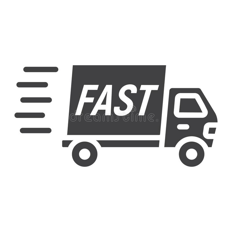 Icono rápido del glyph del envío, camión de reparto ilustración del vector