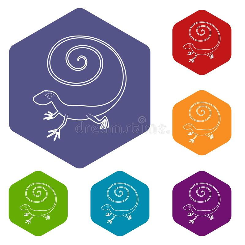 Icono r?pido del lagarto, estilo del esquema ilustración del vector