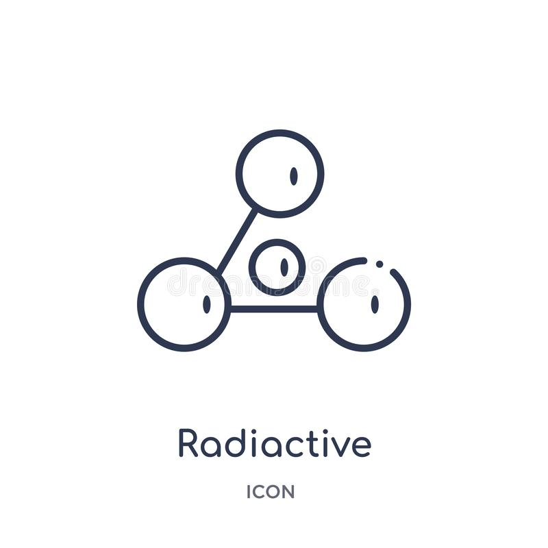 Icono radiactive linear de la colección del esquema de la química Línea fina vector radiactive aislado en el fondo blanco radiact libre illustration