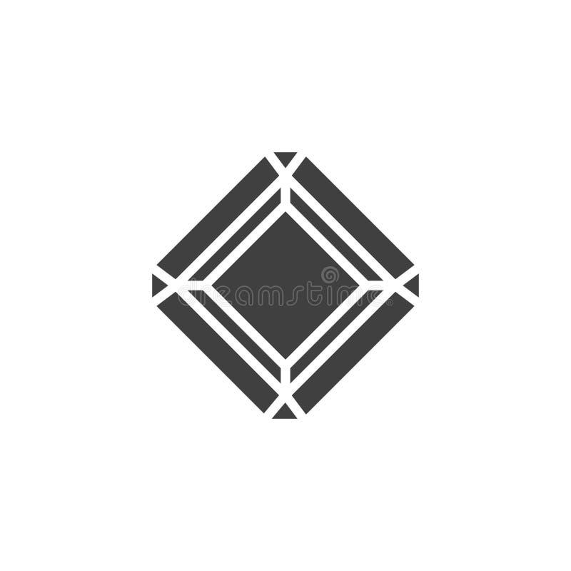 Icono radiante del vector del diamante ilustración del vector