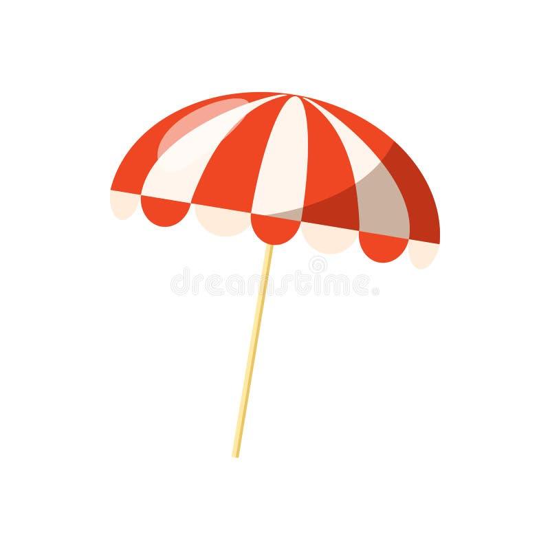 Icono rayado del parasol de playa, estilo de la historieta libre illustration