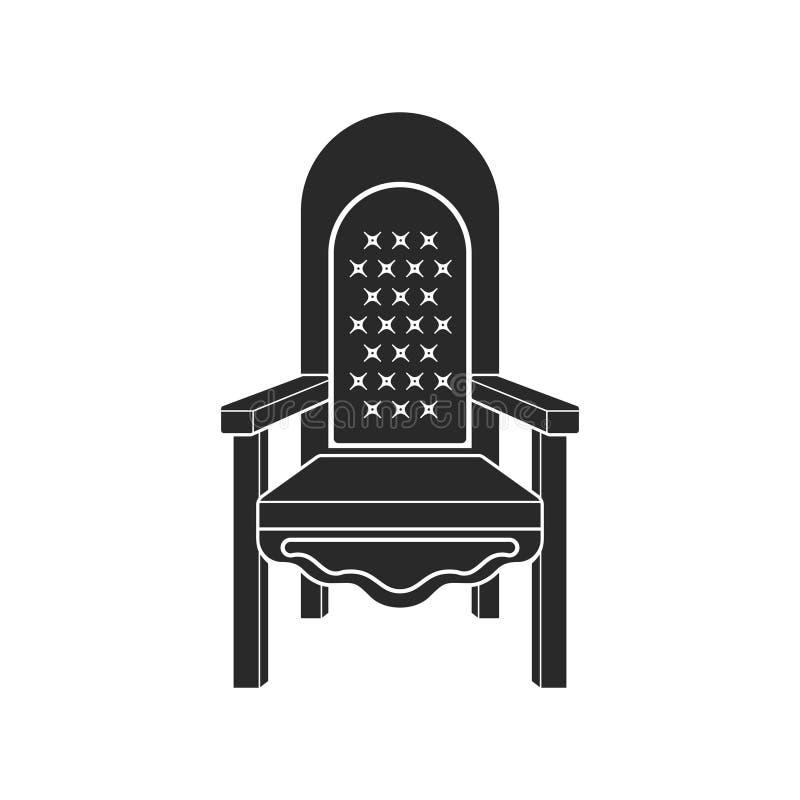 Icono real del trono Icono del trono o de la butaca del rey en estilo plano aislado en el fondo blanco libre illustration