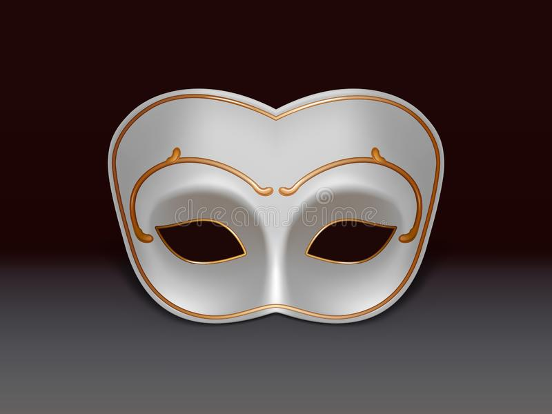 Icono realista blanco del vector de la máscara 3d del colombina ilustración del vector