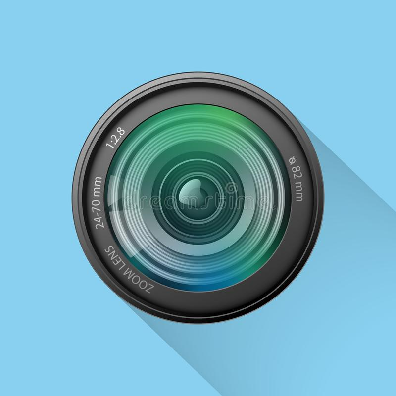 Icono realista de la lente de cámara en el fondo azul, illustrati del vector ilustración del vector