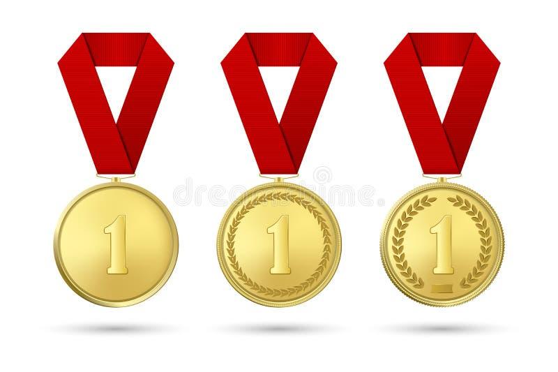 Icono realista de la medalla del premio del oro del vector 3d fijado con el primer de las cintas del color aislado en el fondo bl stock de ilustración