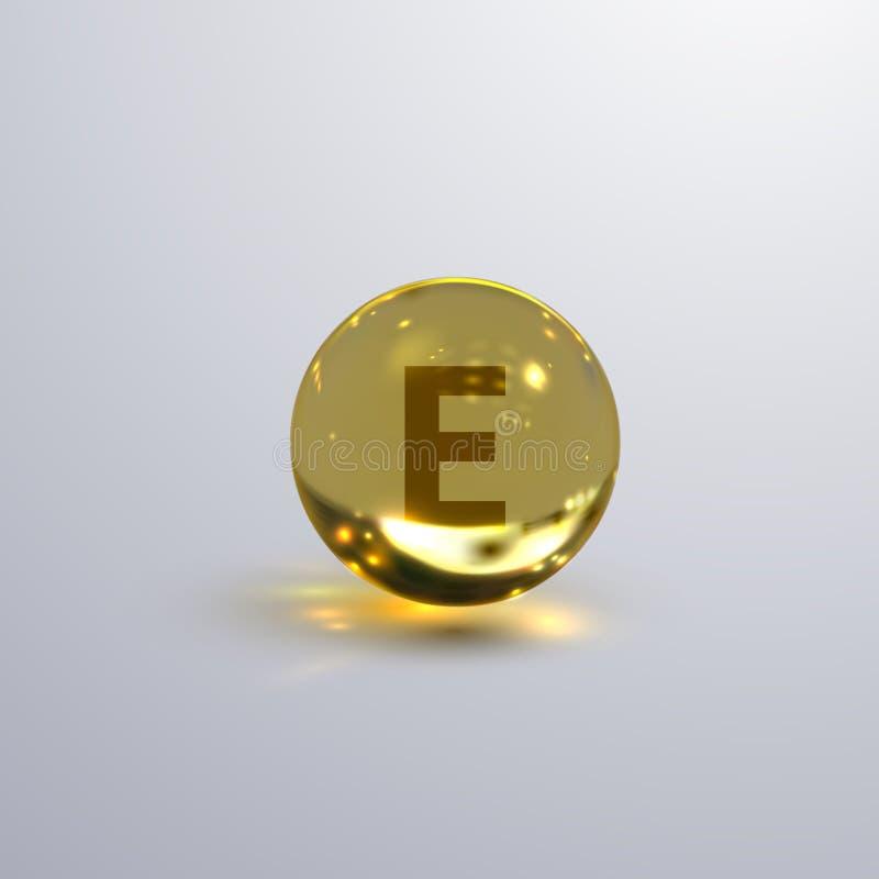 Icono realista de la vitamina E stock de ilustración