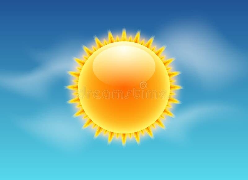 Icono realista de los rayos de Sun Diseño del cielo del sol de la previsión metereológica del vector Luz del verano de la natural stock de ilustración
