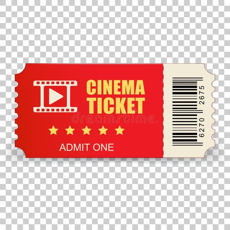 Icono realista del boleto del cine en estilo plano Admita una cupón ent libre illustration