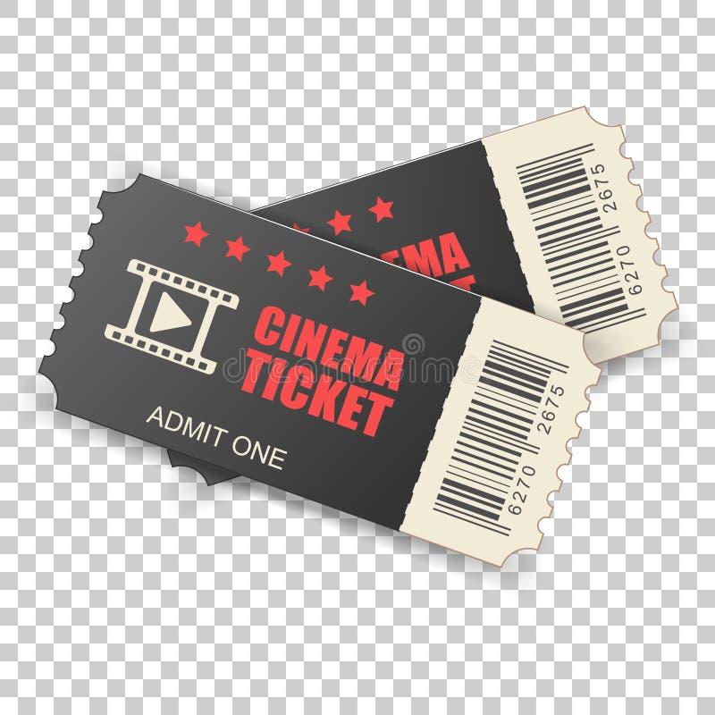 Icono realista del boleto del cine en estilo plano Admita una cupón ent stock de ilustración