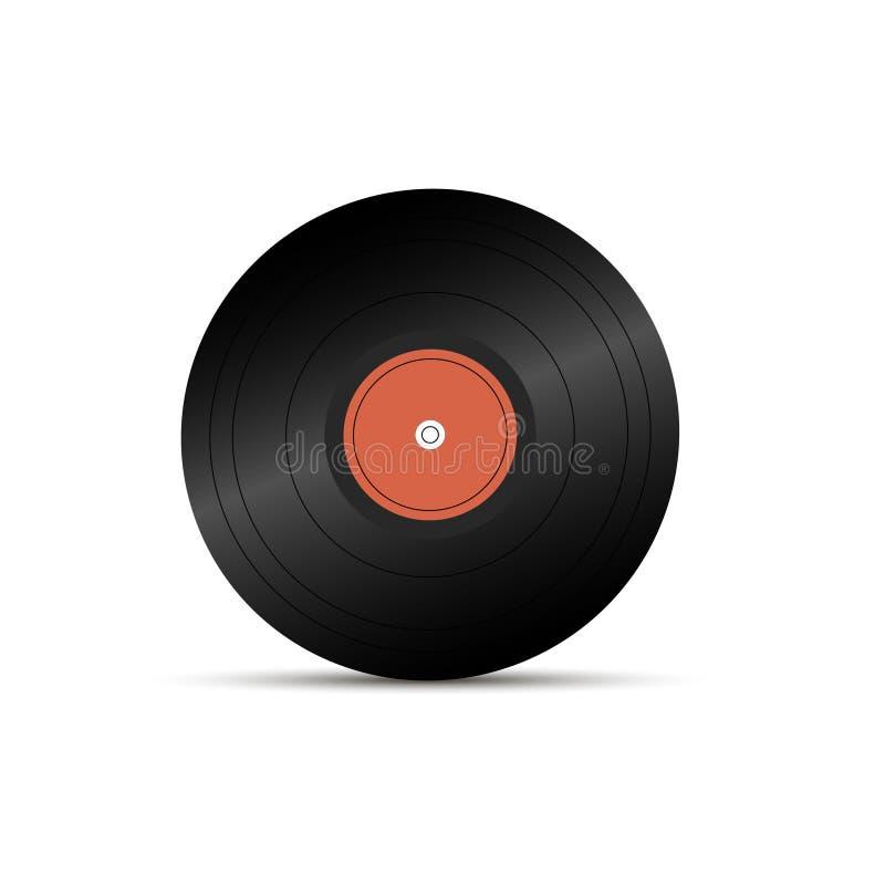Icono realista del disco de LP, objeto de la música del gramófono, disco de disco del vinilo, ejemplo del vector stock de ilustración