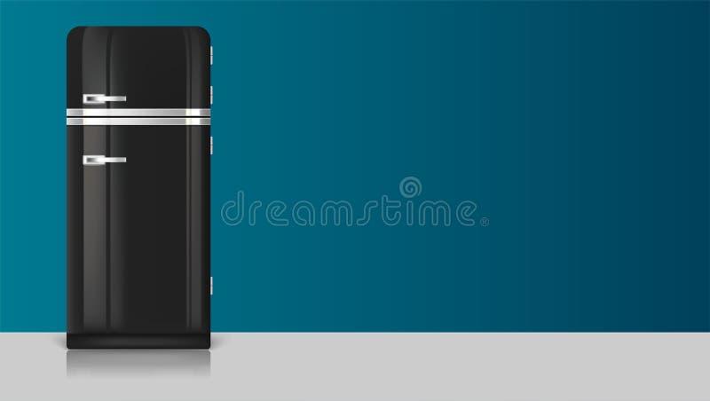 Icono realista del refrigerador del negro del vintage Plantilla con el refrigerador retro del vintage ilustración del vector