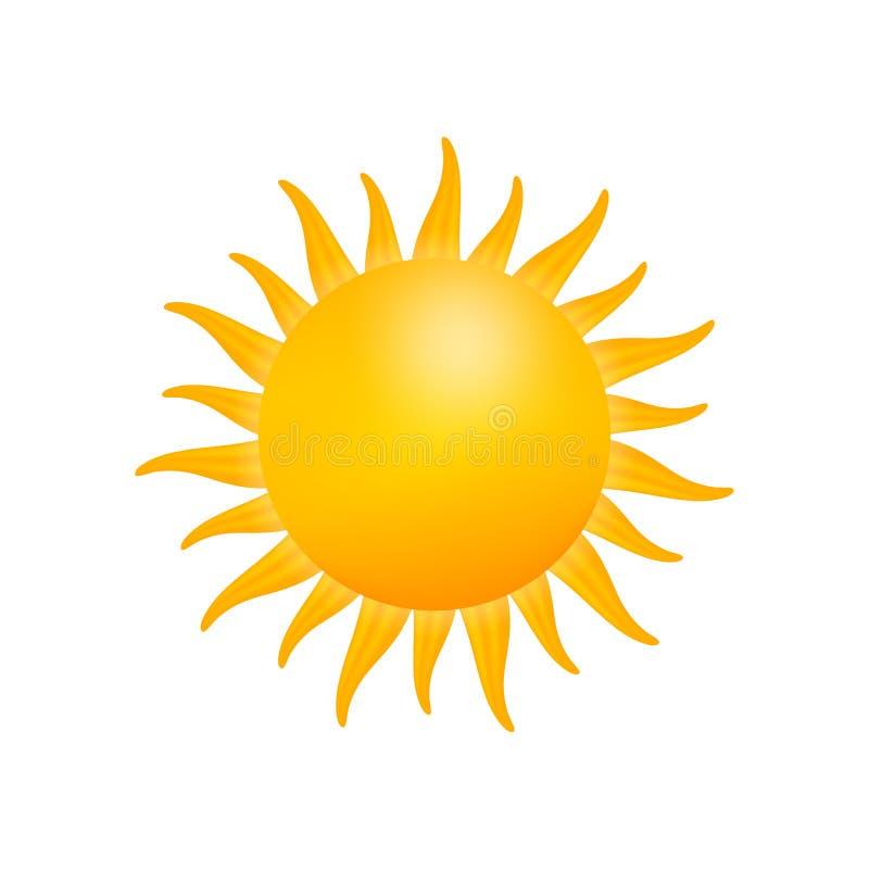 Icono realista del sol para el diseño del tiempo en el fondo blanco Ilustraci?n com?n del vector libre illustration