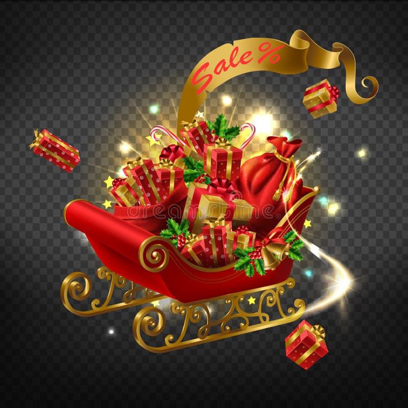 Icono realista del vector de la venta del día de fiesta de la Navidad ilustración del vector