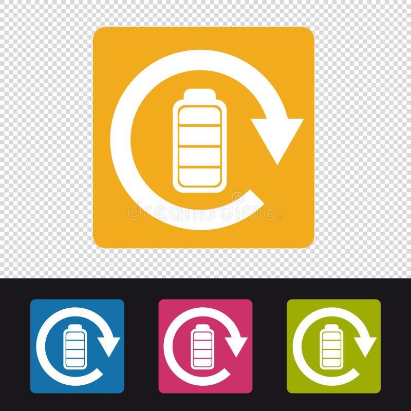 Icono recargable de la batería - ejemplo colorido del vector - aislado en fondo transparente stock de ilustración