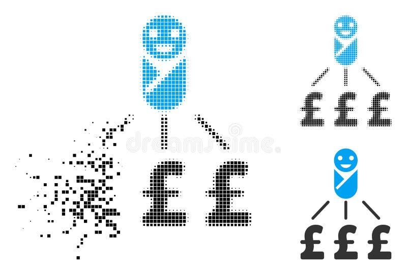 Icono recién nacido de semitono punteado destrozado de los costos de la libra stock de ilustración