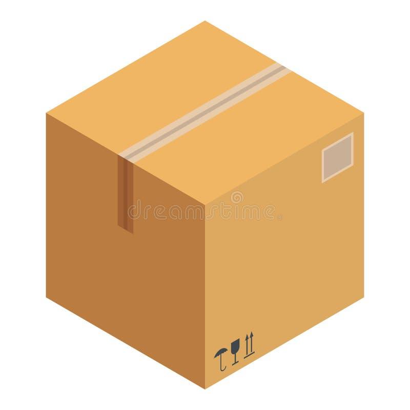 Icono recibido de la caja, estilo isométrico ilustración del vector