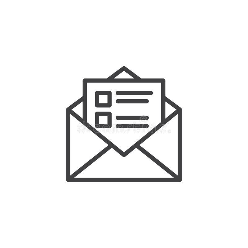 Icono recibido del esquema del mensaje stock de ilustración