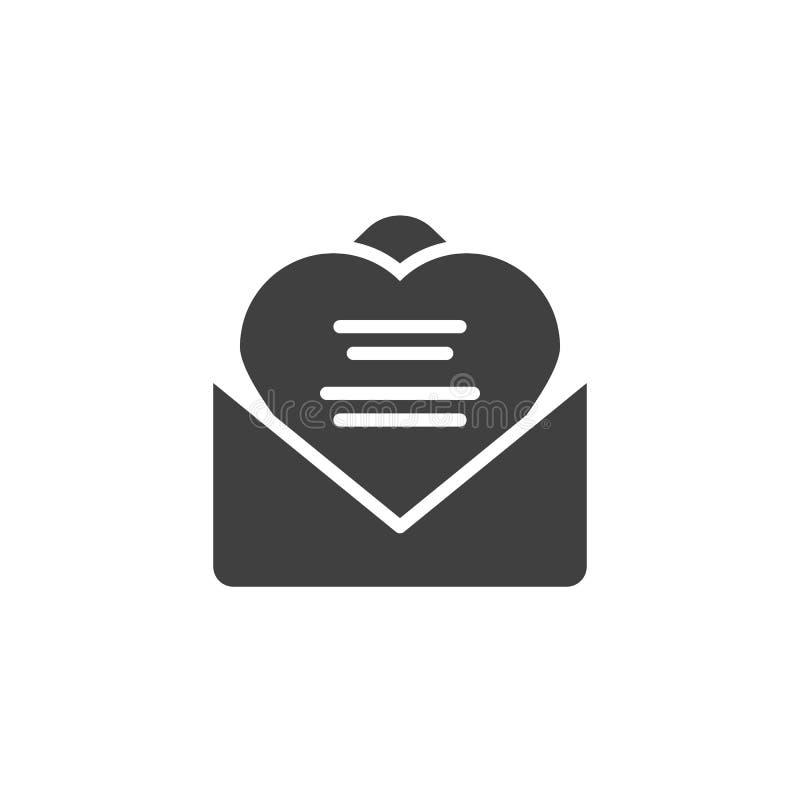 Icono recibido del vector de la letra de amor ilustración del vector