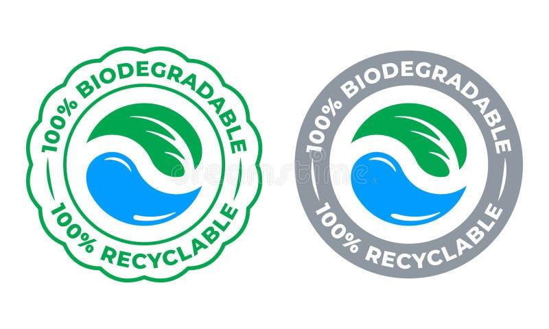 Icono reciclable biodegradable del vector de la etiqueta del 100 por ciento Eco ahorra el bio logotipo verde de empaquetado recic ilustración del vector