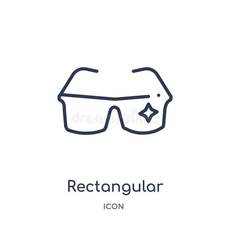 icono rectangular de las lentes de la colección del esquema de las herramientas y de los utensilios Línea fina icono rectangular  stock de ilustración