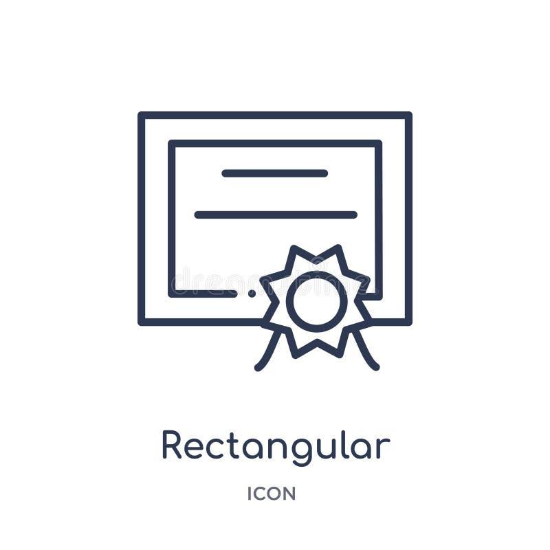 icono rectangular del certificado de la colección del esquema de la interfaz de usuario Línea fina icono rectangular del certific ilustración del vector