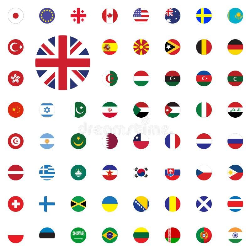 Icono redondo BRITÁNICO de la bandera Iconos redondos del ejemplo del vector de las banderas del mundo fijados ilustración del vector