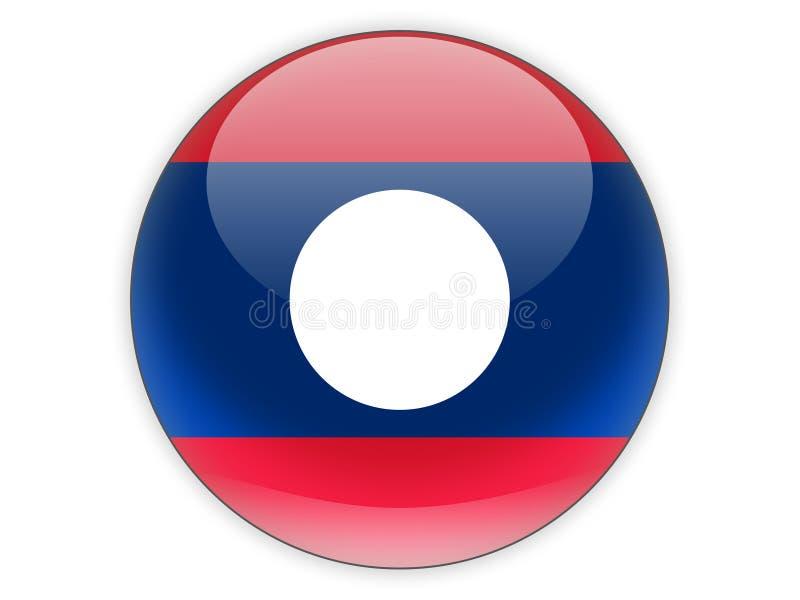 Icono redondo con la bandera de Laos ilustración del vector