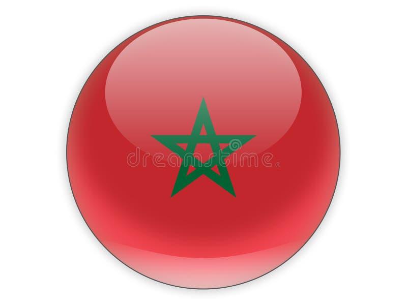 Icono redondo con la bandera de Marruecos ilustración del vector