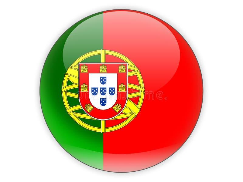 Icono redondo con la bandera de Portugal stock de ilustración
