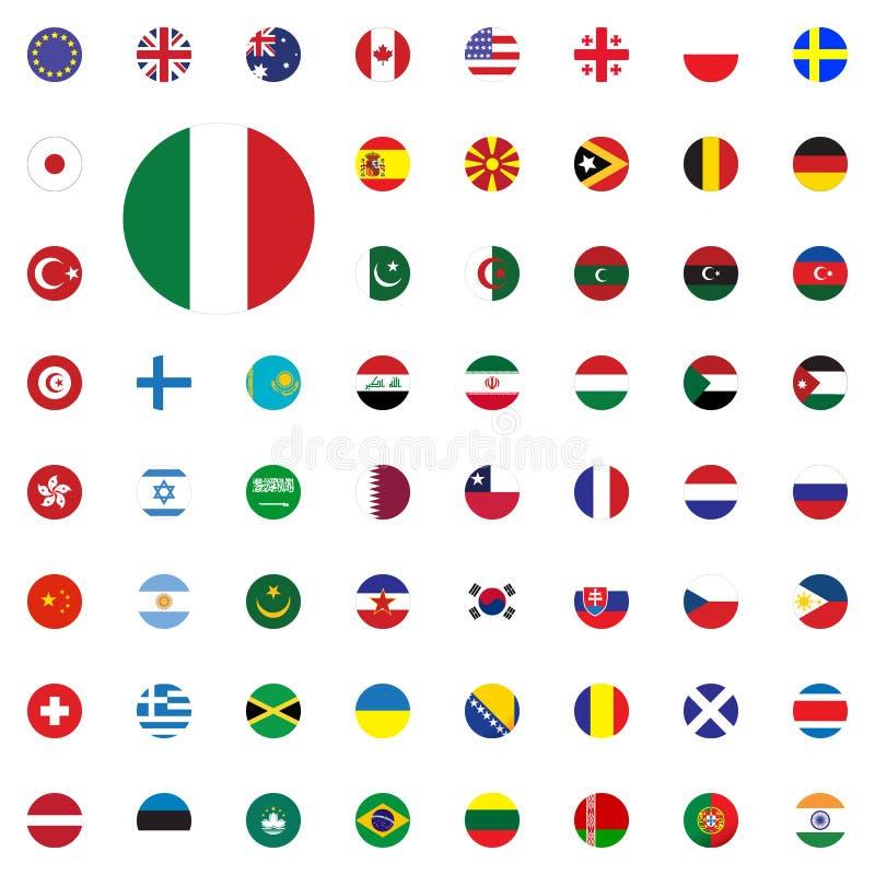 Icono redondo de la bandera de Italia Iconos redondos del ejemplo del vector de las banderas del mundo fijados libre illustration