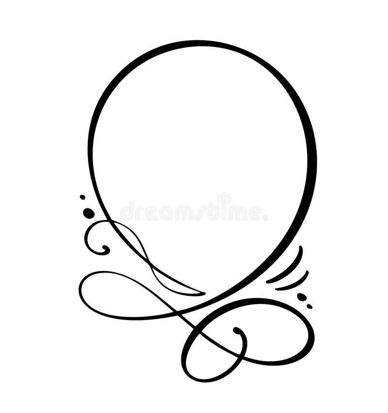 Icono redondo de la burbuja del discurso de la cita de la caligrafía Marco de texto de la mano o plantilla exhausto de la caja Il stock de ilustración