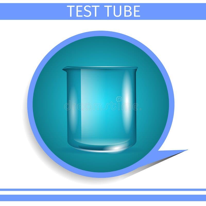 Icono redondo de la cristalería de la pendiente científica del tubo de ensayo ilustración del vector