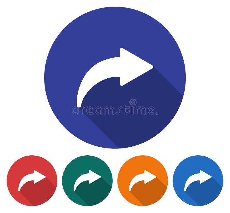 Icono redondo de la flecha curvada derecha ilustración del vector