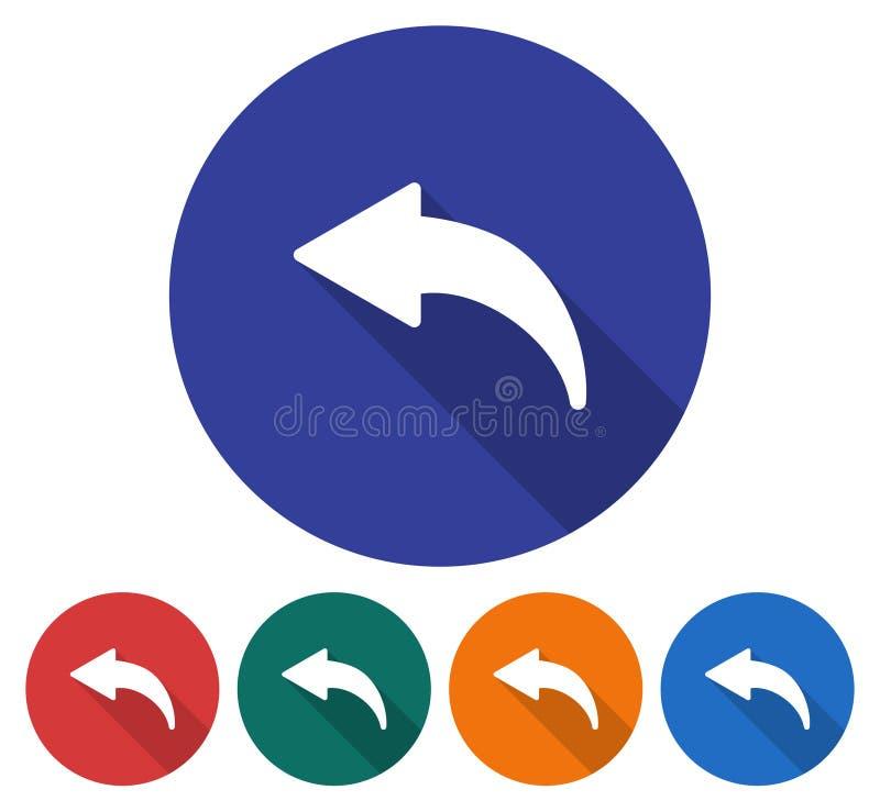Icono redondo de la flecha a la izquierda curvada stock de ilustración