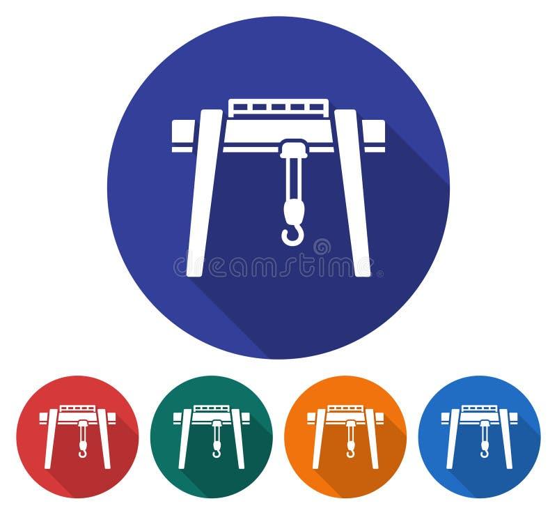 Icono redondo de la grúa de pórtico stock de ilustración