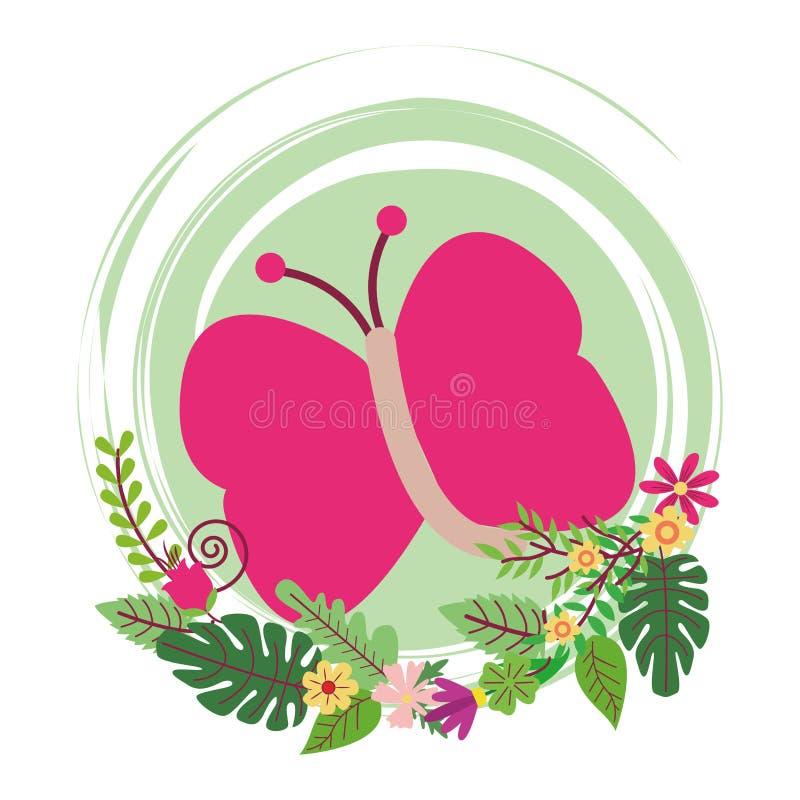 Icono redondo de la historieta linda de la mariposa ilustración del vector