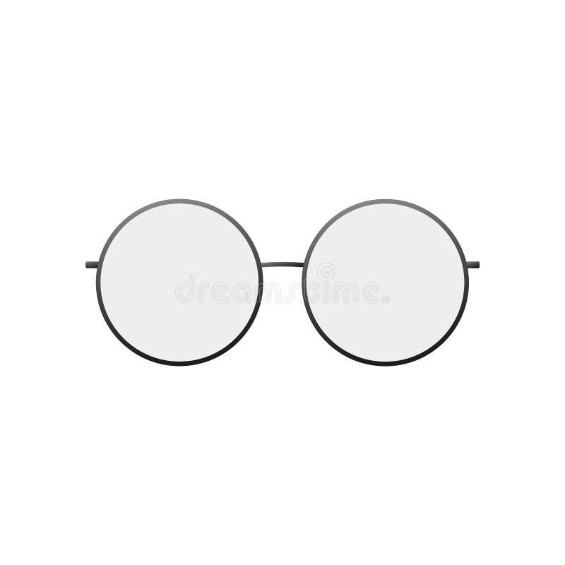 Icono redondo de los vidrios Silueta de vidrios, fondo blanco aislado Diseño gráfico fresco moderno Pl?stico negro stock de ilustración