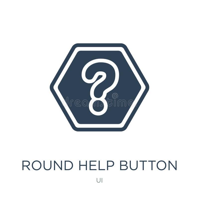 icono redondo del botón ayuda en estilo de moda del diseño icono redondo del botón ayuda aislado en el fondo blanco icono redondo ilustración del vector