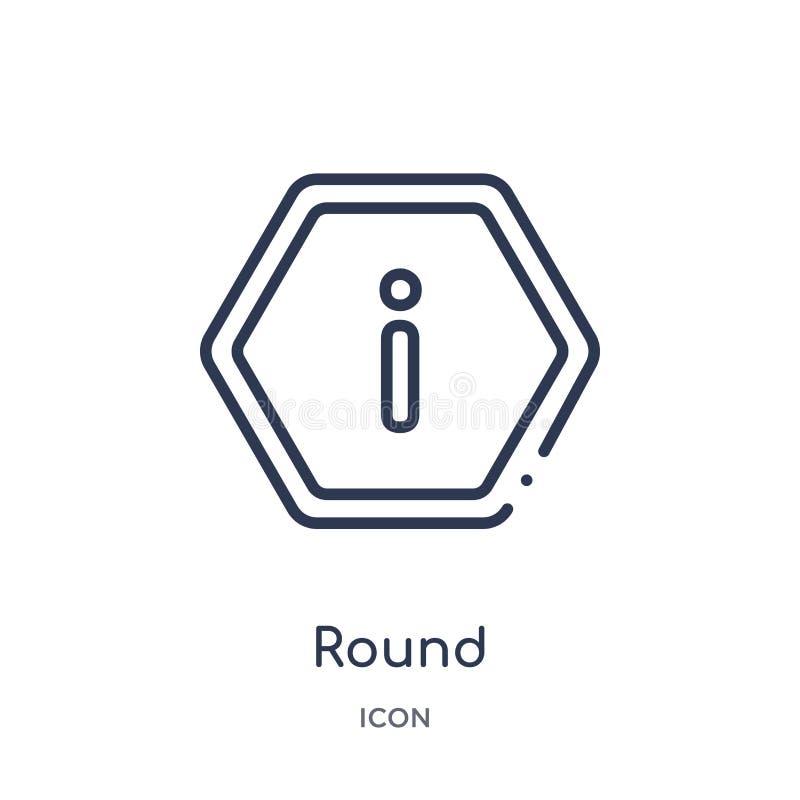 icono redondo del botón de la información de la colección del esquema de la interfaz de usuario Línea fina icono redondo del botó stock de ilustración