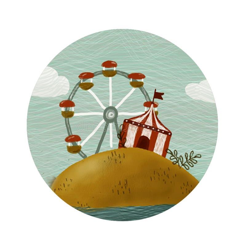 Icono redondo del circo stock de ilustración