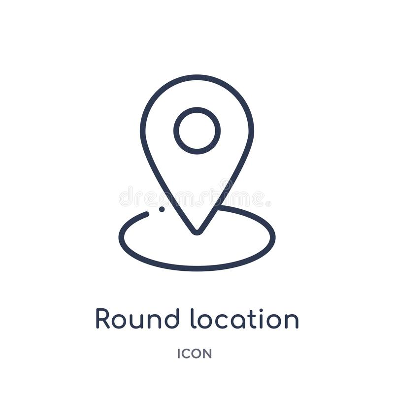 icono redondo del indicador de la ubicación de la colección del esquema de la interfaz de usuario Línea fina icono redondo del in libre illustration