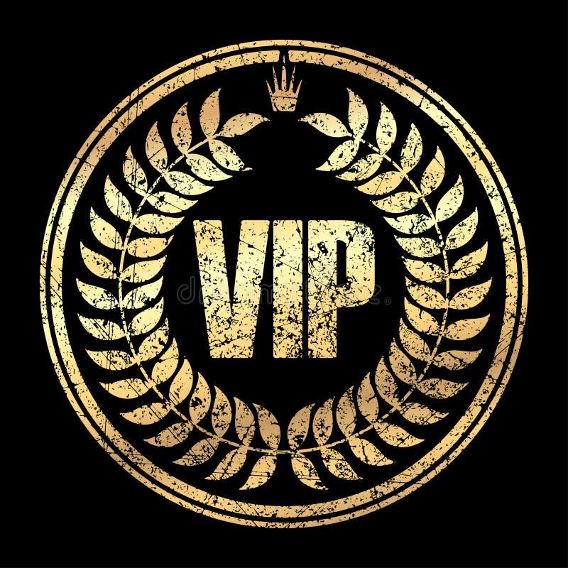 Icono redondo del sello de goma del estilo del grunge del VIP del oro con la corona y el spi libre illustration